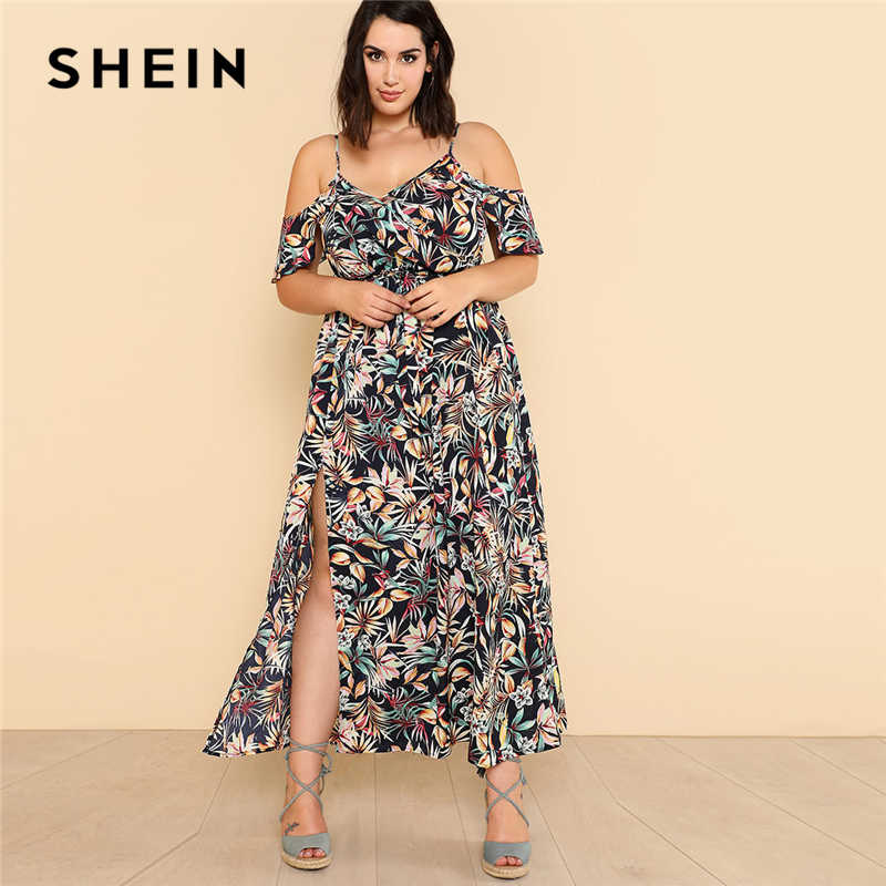 645d7498c87 Detail Feedback Questions about SHEIN Open Shoulder Tropical Wrap Dress  2018 Summer Spaghetti Strap V neck Ruffle Dress Women Plus Size Beach  Belted Dress ...