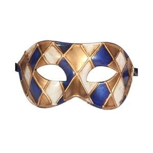 Горячая Арлекин Маскарад Танцевальная вечеринка маска уникальная мужская Венецианская проверенная маска - Цвет: blue gold