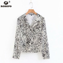 ROHOPO Long Sleeve Leopard Chic Blouse Office Ladies V Collar Lantern Sleeve Printed Tie Dye Top Shirt Autumn #XZ1865 недорого