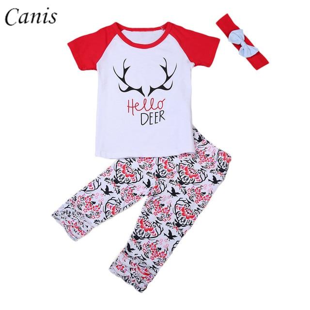 dea3eb8dd 2017 3PCS Toddler Infant Kids Baby Girl Hello Deer T shirt Tops + ...