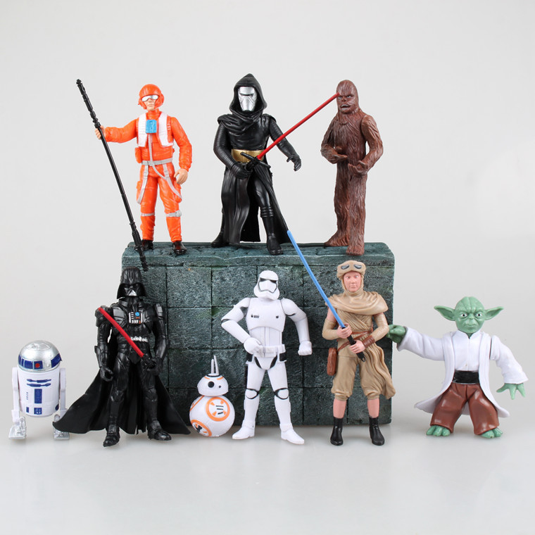 8Pcs/set Star Wars Action Figures Clone Trooper Storm Trooper Anime Movie Star Wars Darth Vader Action Figure Function star wars the last jedi yoda obi wan darth vader storm trooper building block compatible with legoinglys starwars action figure