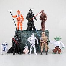 8Pcs/set Star Wars Action Figures Clone Trooper Storm Trooper Anime Movie Star Wars Darth Vader Action Figure Function