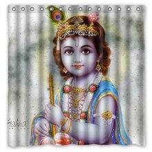 Hinduism Бог Кришна водонепроницаемый Душ шторы Шторки для дома, ванной с 12 крючками полиэстер ткань занавес для ванной