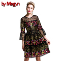 by Megyn High-Grade Women Runway Dress Handmade Floral Embroidery Beedings Dress Lace O-Neck Flare Sleeve Mini Dress V358