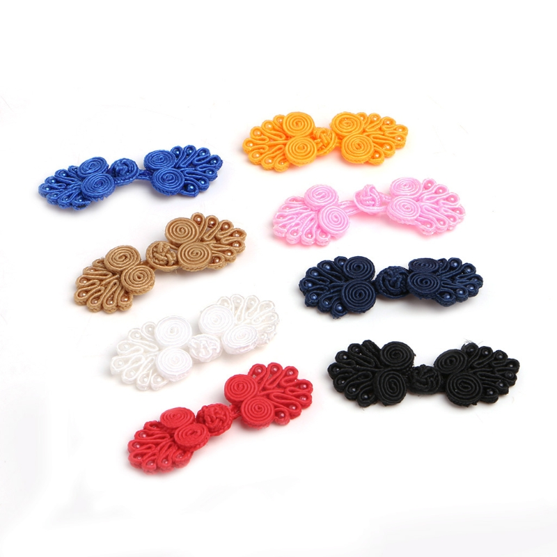 20 Sets Beaded Chinese Knot Frog Buttons Closure for Sewing Crafts Light tan