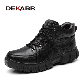 DEKABR Brand Men Boots Genuine Leather Plus Fur Ankle Boots Lace-Up High Quality Men Shoes Winter Autumn Work Boots Men