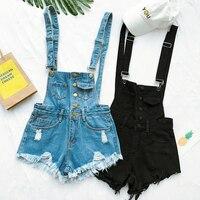 Nova Coleção de Verão Coreano Mulheres Soltas Denim Macacão-cintura Alta Rasgado Buraco Borda Ondulada Macacão Moda Calças Suspensórios