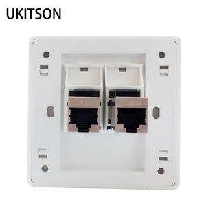 2 Ports RJ45 Connector Wall Panel Faceplate Shielded CAT6 Keystone Plug