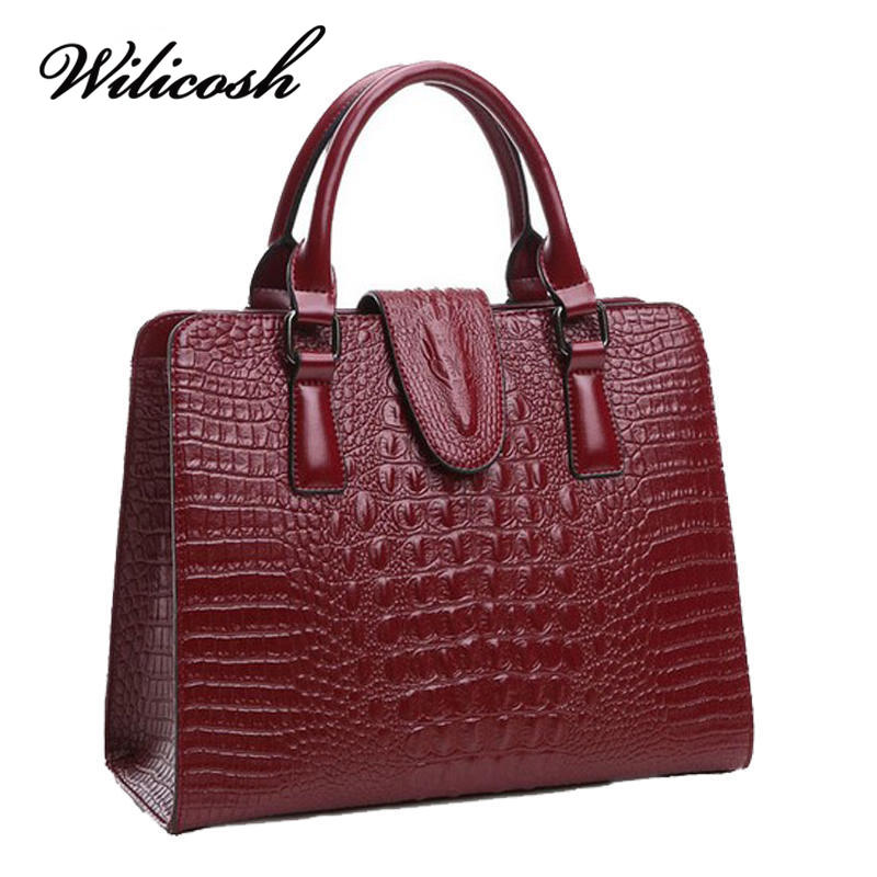 ФОТО Wilicosh Handbags Genuine Leather Bag Ladies crocodile pattern Handbags Womens messenger Shoulder bags Famous Brand tote YF357