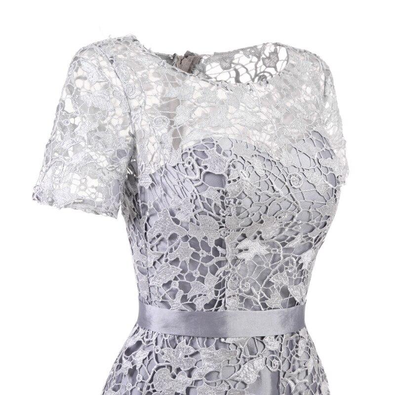 W.JOLI Short Evening Dress 2019 Elegant Grey Lace Satin Appliques Prom Gown  O NECK Bride Banquet Wedding Party Dresses-in Evening Dresses from Weddings  ... 0fd413655632
