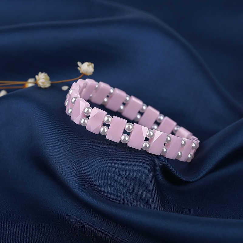 Pink Beads Bracelet pulseira da amizade Adjustable Friendship Ceramic Bracelet Gift Golden Silver Bracelet for Women Elegant