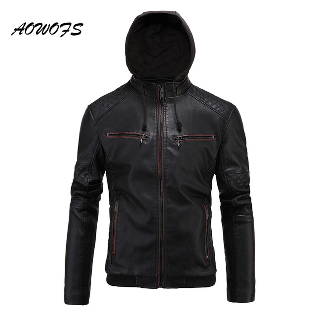 dbe4f95041fc AOWOFS Winter Jackets Mens Leather Fur Coat Men Fashion Motorcycle Hooded  Faux Leather Jacket for Men