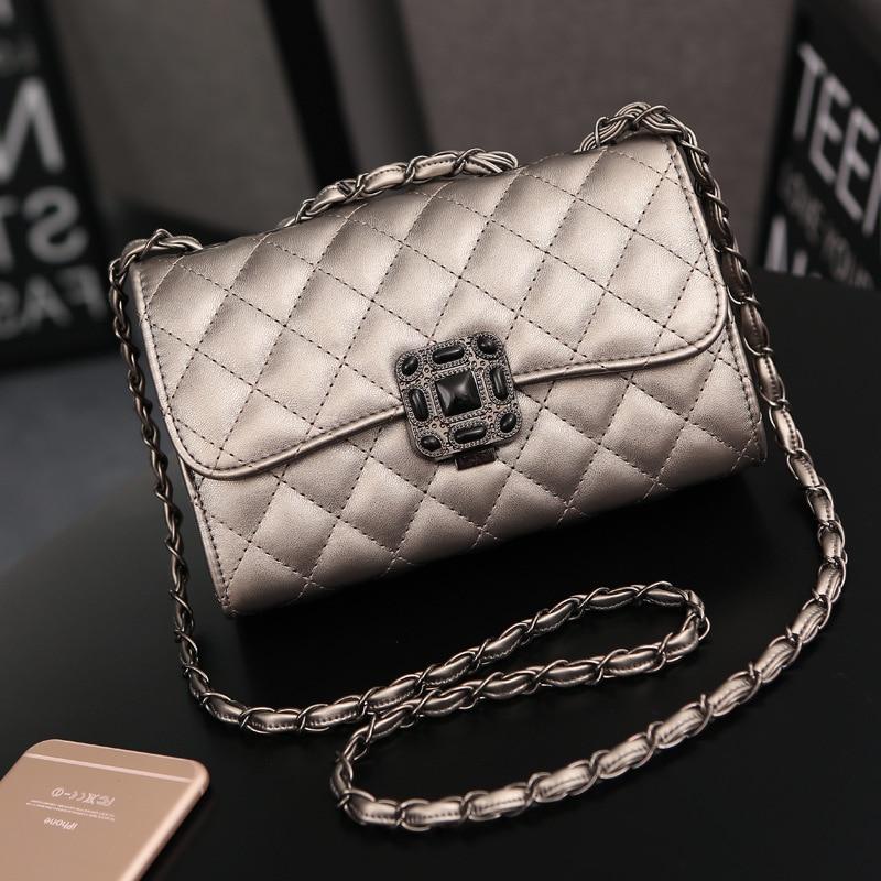 ONEFULL New Fashion pu leather shoulder bag women casual hasp diamond lattice ringer chain Lady Leisure Ladies messenger