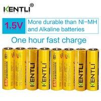 KENTLI 2400mWh 8 pcs Frete Grátis AA 1.5 v baterias li-ion recarregável de polímero de lítio célula de bateria com baixa auto descarga