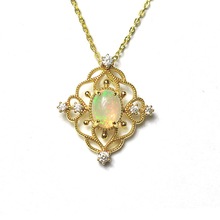 Natural Opal Pendant , Light GOLD 925 pure silver. Main stone: approximately 8*6 elliptical prime surface opal.