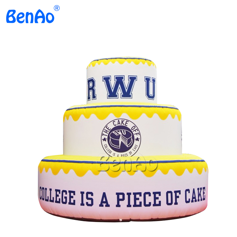 Z012 Free Shipping Custom High Quality Giant Inflatable Birthday Cake For Celebration Or
