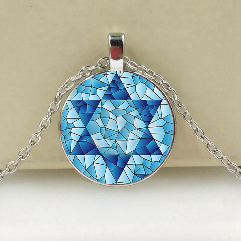Womens Pendant Necklaces New Hexagram Drop Pendant Necklaces Hexagon Magen Star of David Crystal Long Necklace Women Sweater Rhinestone Jewelry S219