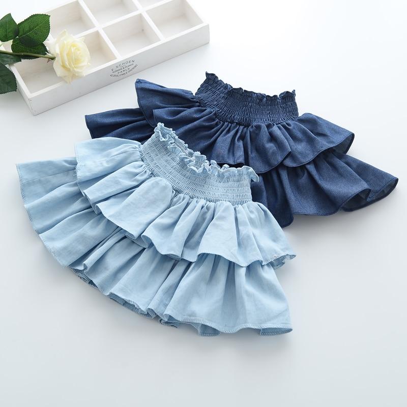 2017 new summer baby girls skirt elastic waist denim skirt cake ball gown children skirts girls constume kids clothes soft cloth