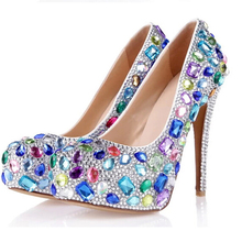 Blue Pink Yellow Multicolor Bling Wedding Bridal Shoes Platforms Round Toe Ladies Valentine Shoes Party Prom High Heel Shoes
