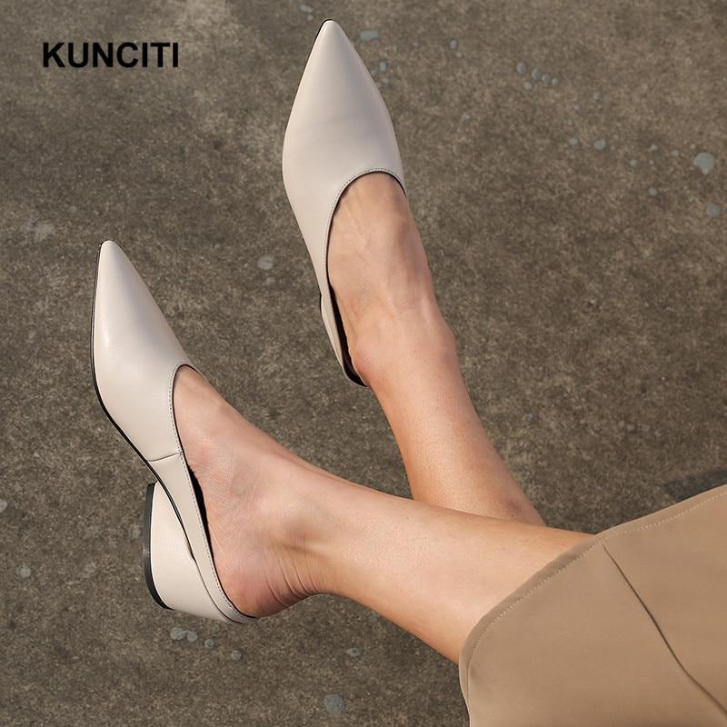 Ayakk.'ten Terlikler'de 2019 Yeni Stil Kadın Deri Terlik Sivri Burun Bayanlar Scuffs Moda Katır Ayakkabı Hakiki Deri Kadın Ayakkabı Bayan T915'da  Grup 3