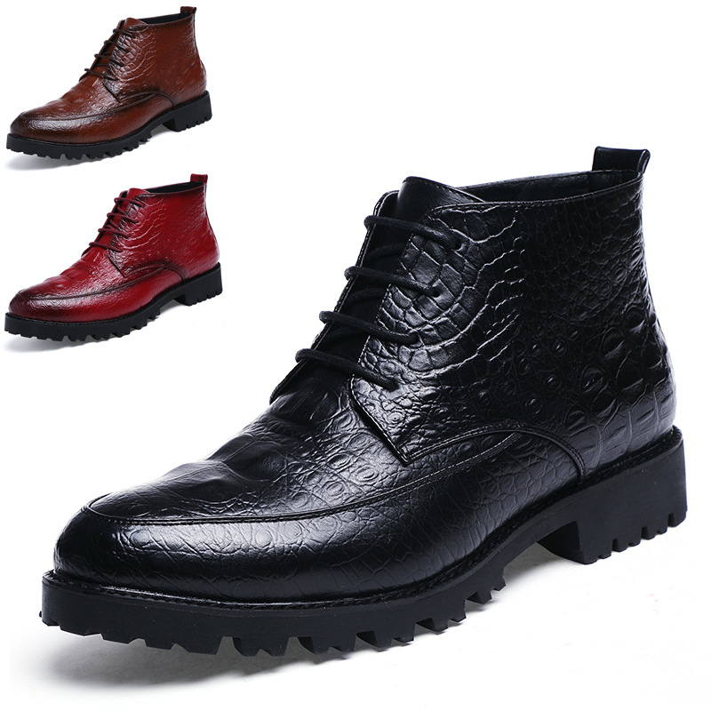 New Men's Real Leather Ankle Boots Formal Shoes Crocodile Print Lace Up Mens Winter Boots Cowboy Boots Mens Steel Toe Shoes