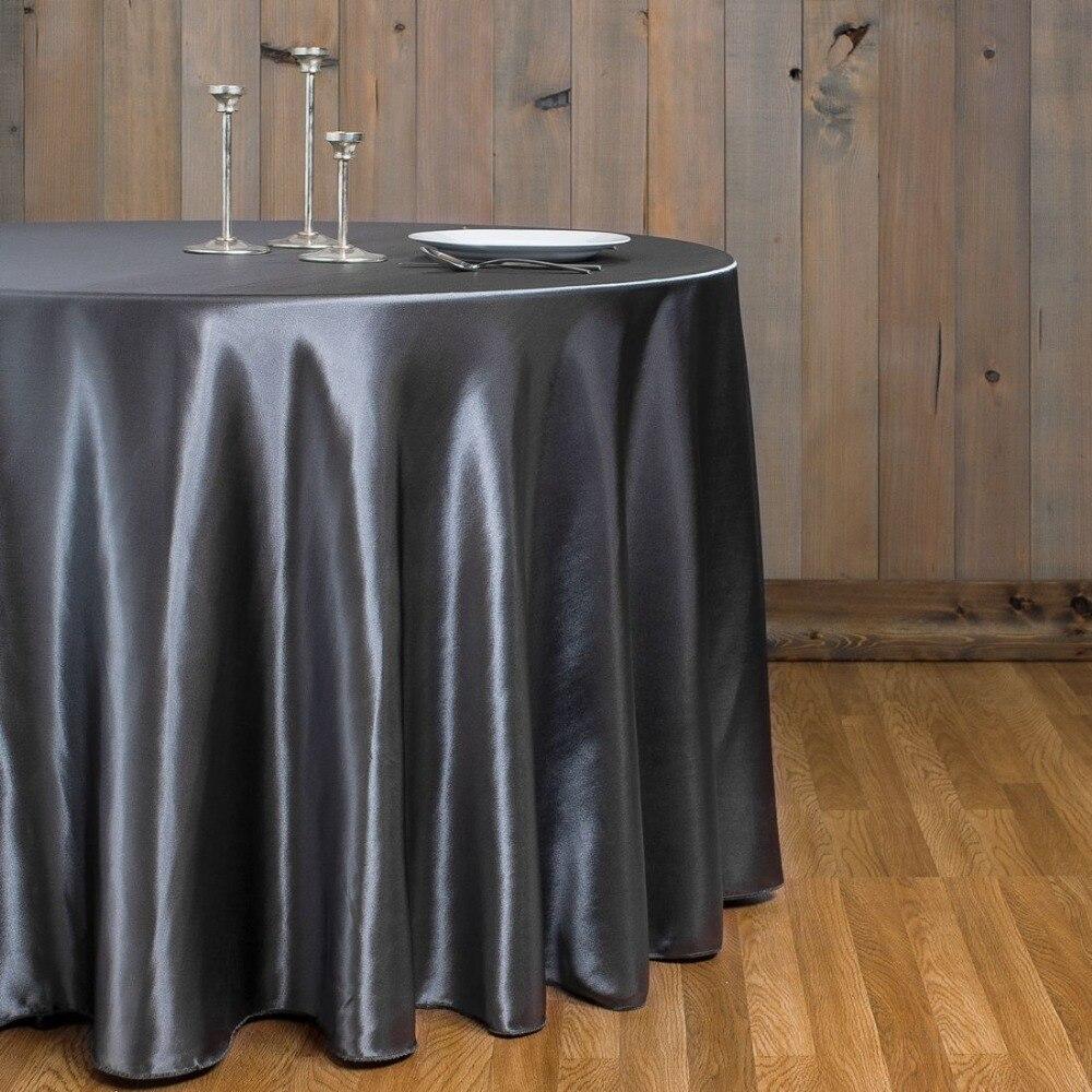 10pcs Charcoal 90 Quot Round Elegant Satin Tablecloths Table