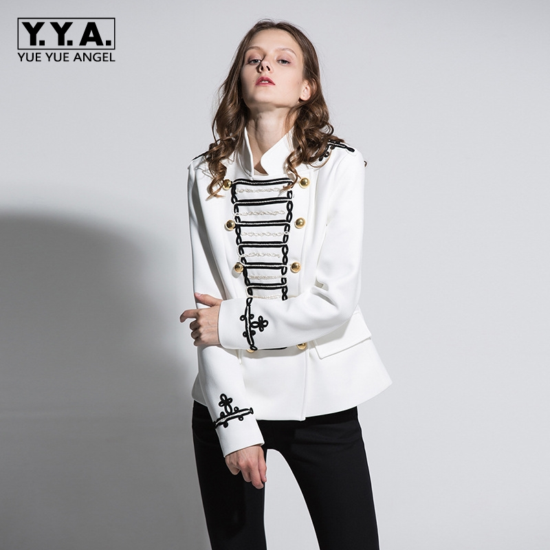 High-End 2018 New Temperament Ladies Double Breasted British Embroidery Suit Slim Short Jacket Female Short Coats Plus Size M-XL