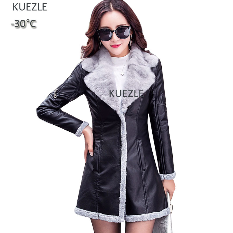 Women Fashion Plush Winter   Leather   Jacket 2018 jacket   leather   Ladies Fall PU Fur One-piece Jacket coat womam Faux   Leather   Female