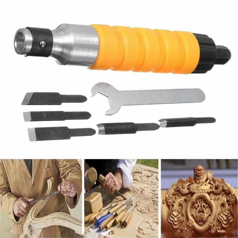 1 satz Von Elektrischen Holz Meißel Carving Werkzeug Elektrische Holz Cutter Meißel Gravur Messer Werkzeug W/5 Klingen + schlüssel Holzbearbeitung Werkzeug