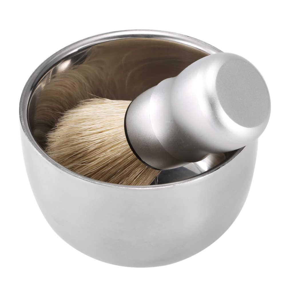 3 في 1 الرجال مجموعة الحلاقة فرشاة الحلاقة الحلاقة حامل الصابون السلطانية ل الغرير الشعر مصقول تنظيف الذكور طقم أدوات الحلاقة