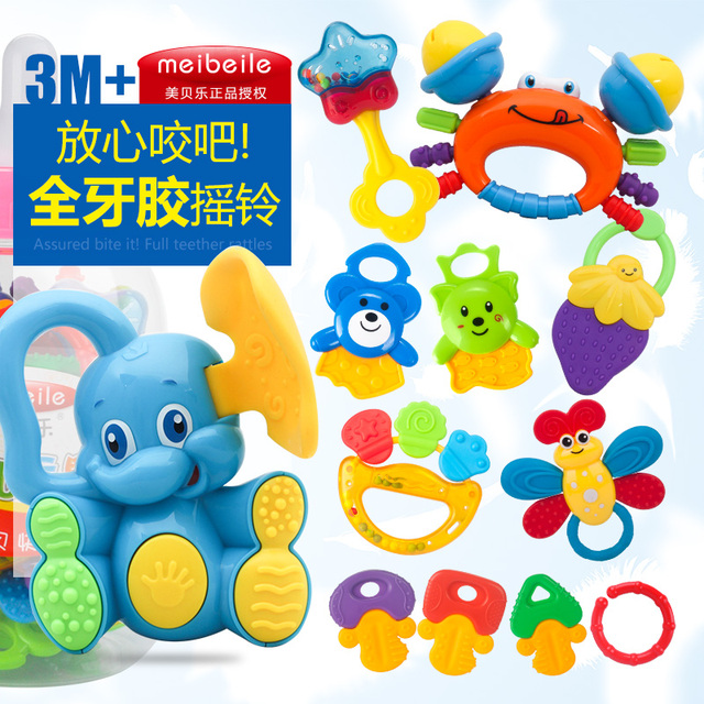 Newborn Baby Educational Toys Teethers Rattles Set 3 6 12 Months