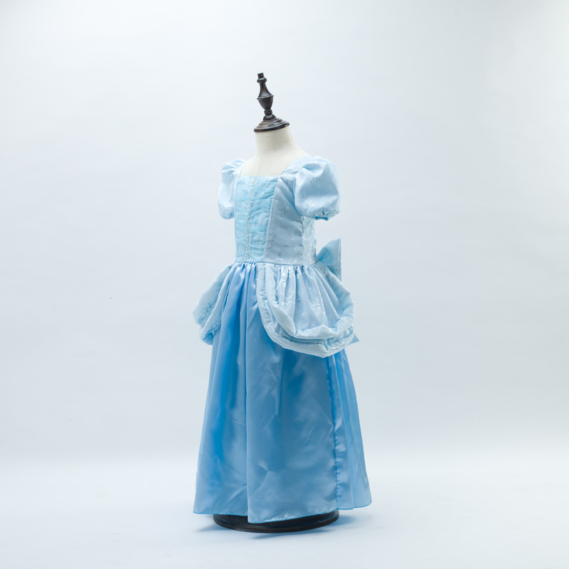 HI BLOOM New 2017 Halloween Gift Children Baby Clothes Cinderella Custume Blue Bow Little Girl Dress Wedding Performance Dress