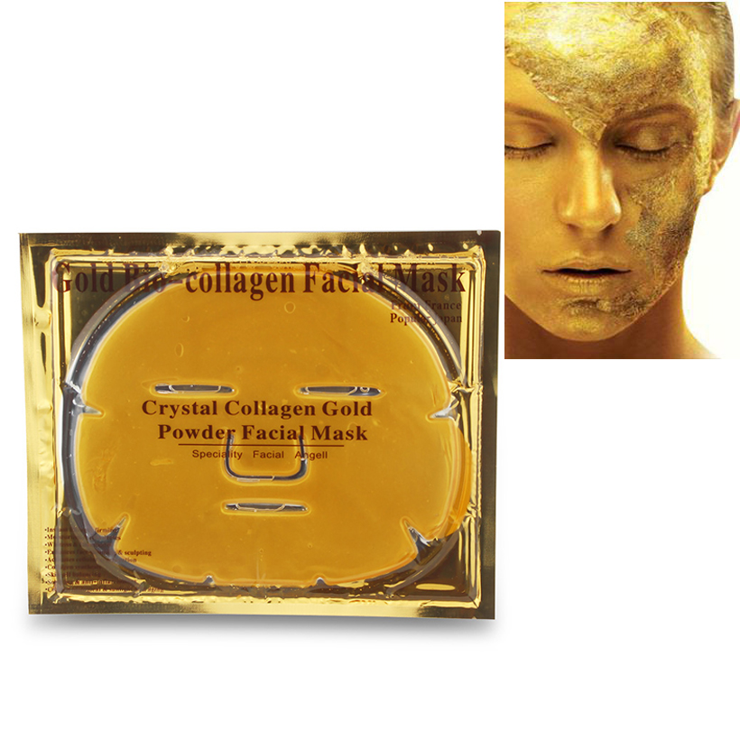 10Pcs/Lot Skin Care Facial Mask Gold Collagen Black Mask Gold Crystal Collagen Powder Moisturizing Firming Oil-control Face Mask