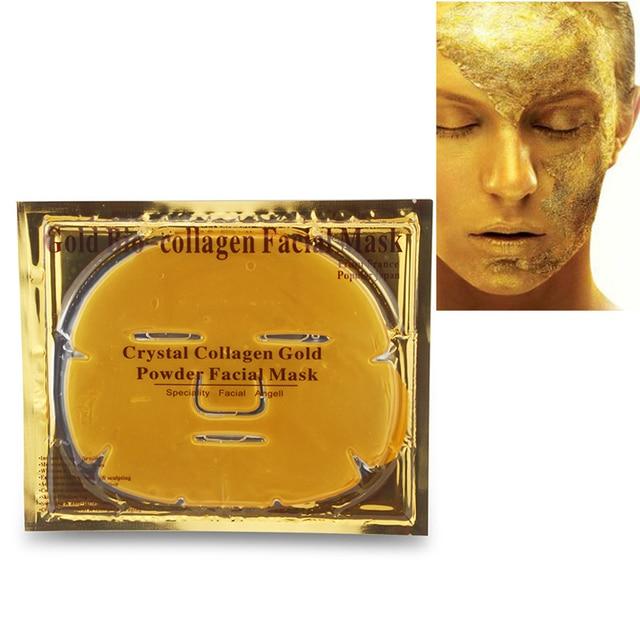 10Pcs/Lot Skin Care Facial Mask Gold Collagen Black Mask Gold Crystal Collagen Powder Moisturizing Firming Oil Control Face Mask