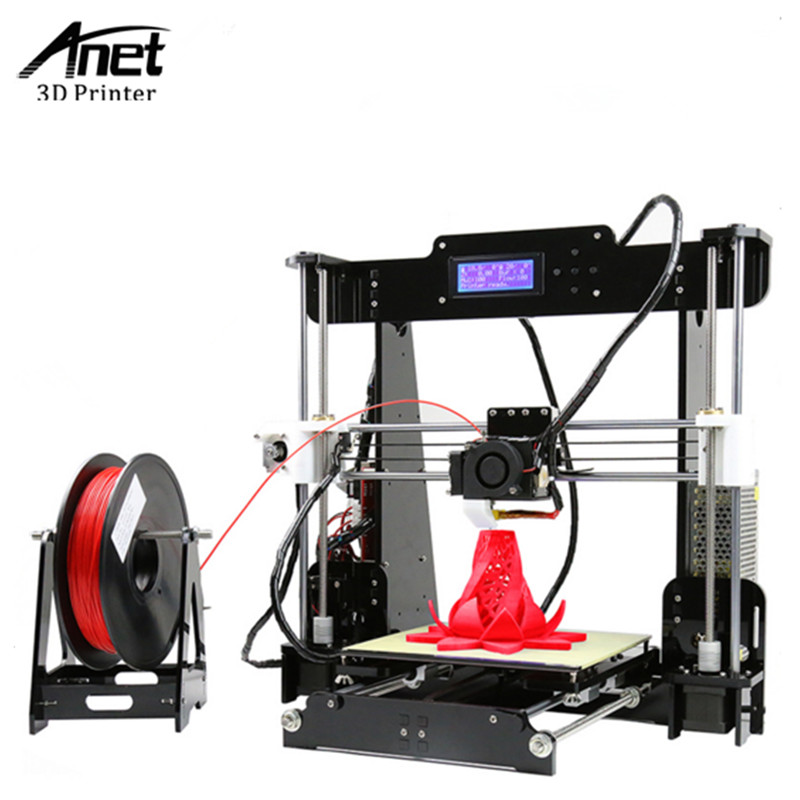 ANET A8 3D printer High Precision Prusa i3 RepRap 3D Printer Easy Assemble DIY Kit PLA/ABS Filament 8GB SD Card Send From Moscow anet a6 desktop 3d printer kit big size high precision reprap prusa i3 diy 3d printer aluminum hotbed gift filament 16g sd card