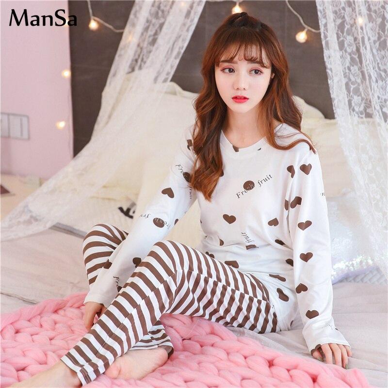 spring new Home Clothes For Women   Pajamas     Sets   Cartoon Printed Pyjamas Sleepwear Long Sleeves   Pajama   Suit 90s girls pijama mujer