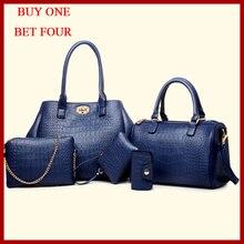 5 sets nueva llegados bolsos de cuero mujeres, hombro alta calidad, todo fósforo de moda mujeres bolsas de mensajero del embrague bolsas señora de 5 Unidades