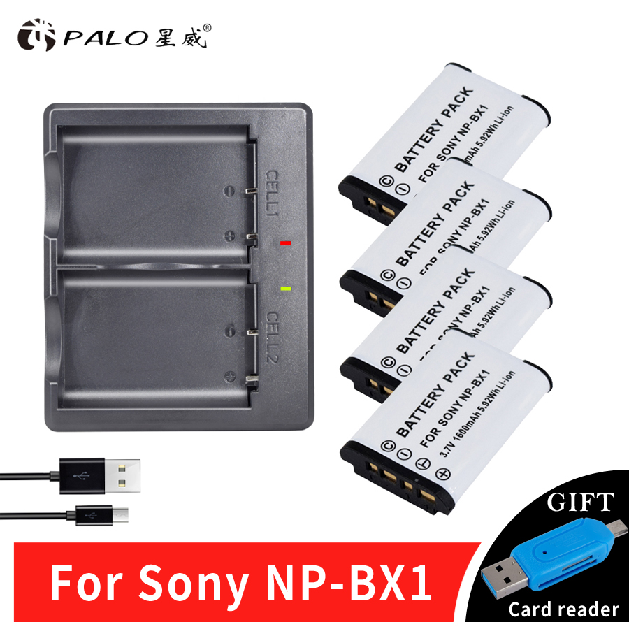 4Pcs Palo NPBX1 NP-BX1 Camera Battery Pack for Sony DSC RX1 RX100 AS100V M3 M2 HX300 HX400 HX50 HX60 GWP88 AS200V AS15+a charger