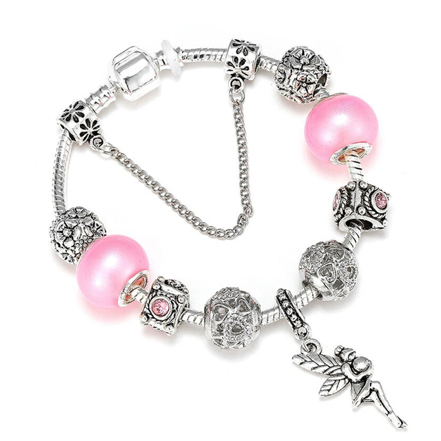 Deeripa Pink Pearl Cute Charm Bracelets With Flower Fairy Pendant Brand For Women Jewelry Fashion