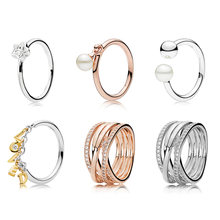 6 Style Original 925 Silver Charms Diy Loved Stars Shape With Pearl Finger Ring Rose Gold For Women Fine Jewelry(China)