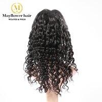 Mayflower девственные волосы полный парик шнурка свободные глубокая волна 150% Плотность отбеленные узел ручной связали с ребенком волос натурал