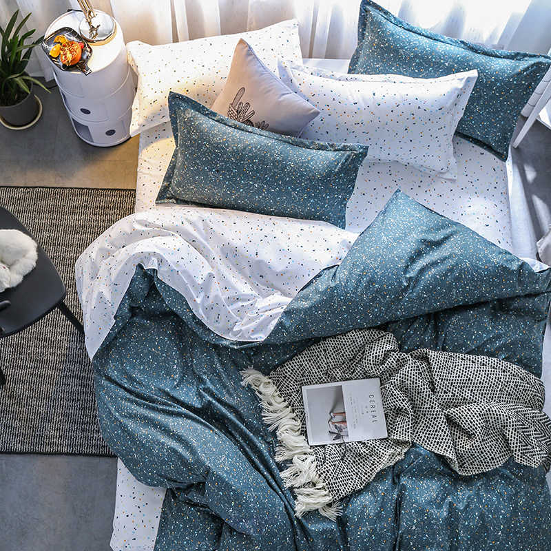 wave point Bed Linen Bedding Set Home Textiles 3/4pc Family Set Include Bed Sheet&Duvet Cover&Pillowcases Full Queen King Size