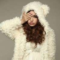 Winter New Arrival Fashion Chic Womens College Cute Bear Ear Thicken Fur Sweaters Outwears Women Sweaters Female White Size XL