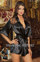Plus Size S M L XL XXL XXXL 2XL 3XL 4XL Black Lingerie Satin Robe Bathrobe