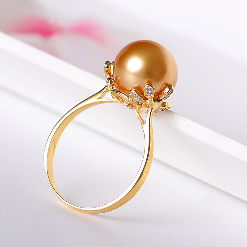 YS 10-11mm Natural Gold South Sea Cultured Pearl Ring 925 Sterling Silver Pearl Ring For Women Girl Fine Jewelry