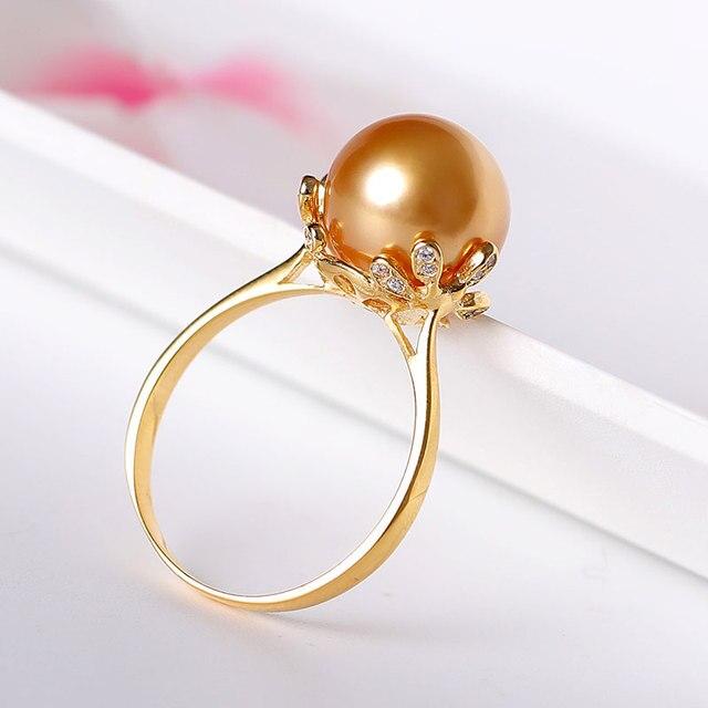 YS 10-11mm naturalne złote morze południowe hodowlane pierścionek z perłą 925 perła z polerowanego srebra pierścień dla kobiet dziewczyna biżuterii