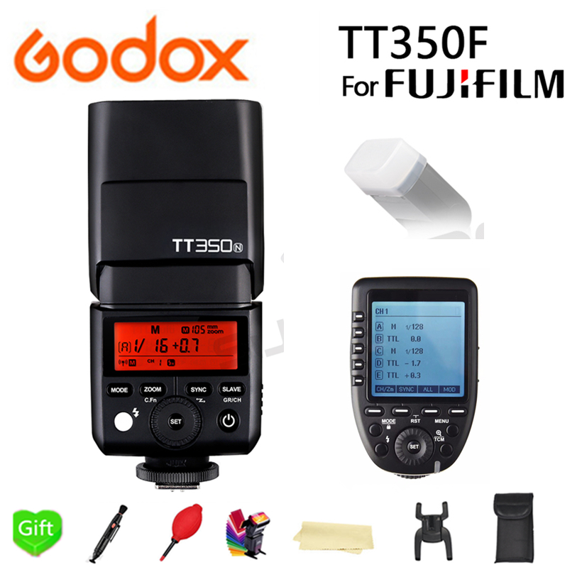 GODOX Mini TT350F Speedlite Flash GN36 TTL HSS 2.4GHz 1/8000 s Pocket lights TT350 + Xpro-F Trigger for Fujifilm fuji Cameras godox flash tt350f fuji ttl hss 2 4ghz 1 8000 s gn36 mini speedlite flash for fujifilm dslr camera free shipping