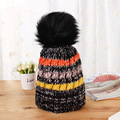 Women Fashion Casual Han Edition New Color Matching Twist Madam Thickening  Winter  Keep Warm Hat Heavy Hair Ball Knitted Cap