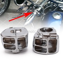 цена на Left+Right CNC Aluminum Motorcycle Handlebar Switch Button Chrome Housing Cover For Harley Sportster Dyna Softail V-Rod 1996-12