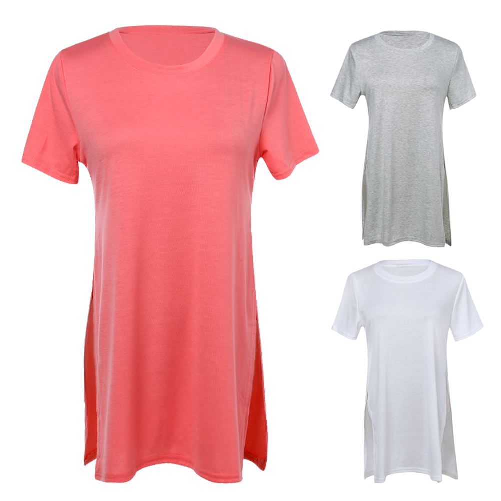 2018 New Women Summer Style Elegant Slit Short Sleeve O Neck Casual Long Shirts Tops For Plus Size Women